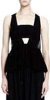 Chloé Sleeveless Bandeau Babydoll Top, Black