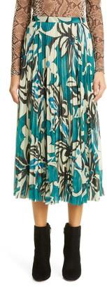 Dries Van Noten Floral Print Midi Skirt