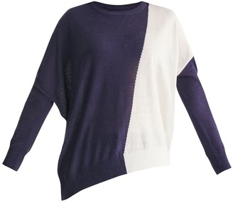 Paisie Knitted Two Tone Top With Asymmetric Hem In Navy & White