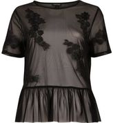 River Island Womens Black applique mesh frill top