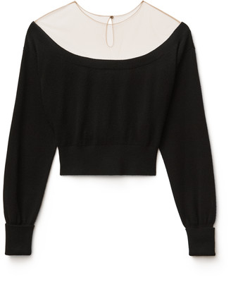 Collection Cropped Sheer Yoke Pullover