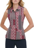 Tommy Hilfiger Printed Sleeveless Button-Front Shirt
