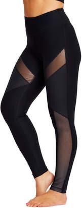 90 Degree By Reflex Women's Leggings SLVBK - Silver & Black Metallic Mesh-Panel Leggings - Women