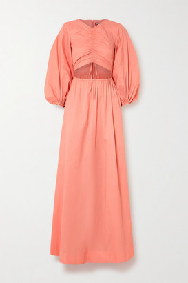 STAUD Tangier Ruched Cutout Crepe Maxi Dress - Coral