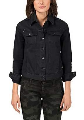 Timezone Women's Colored Denim Jacket (Black 9999), 12 (Size: Medium)