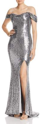Glamorous Bariano Sally Cold-Shoulder Sequin Gown