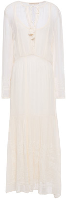 Vanessa Bruno Jelyssa Tassel-trimmed Embroidered Georgette Midi Dress