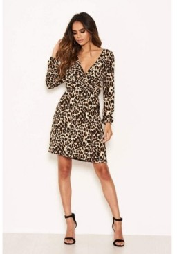 AX Paris Women's Leopard Print Elasticated Waist V-Neck Dress