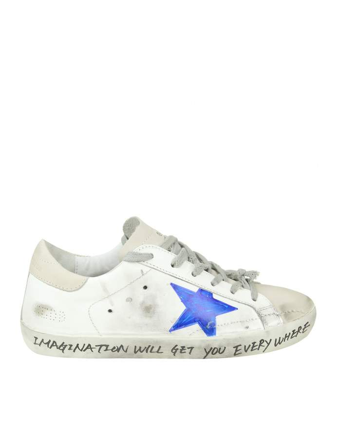 Golden Goose superstar Sneakers In White Hand Decorated Leather