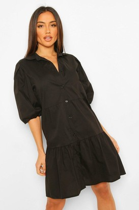boohoo Button Down Puff Sleeve Tiered Smock Dress