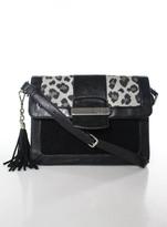 Tignanello Black Leather Structured Mixed Media Tassle Small Satchel Bag