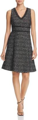 Nanette Lepore Women's Sleeveless V-Neck Boucle Fit & Flare Dress with Self Fringe