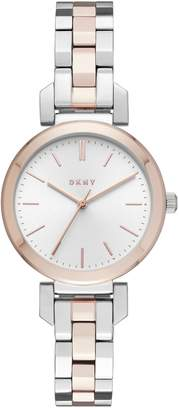 DKNY Silver Dial Ladies Two Tone Strap Watch