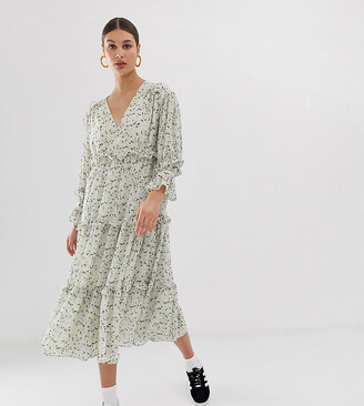 GHOSPELL exclusive oversized midi smock dress with ruffle detail in vintage ditsy floral-Cream