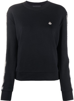 Philipp Plein Rhinestone-Embellished Stripe Sweatshirt