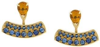 Dubini 18kt yellow gold, sapphire and citrine Theodora earrings