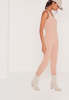 Missguided Rib and Zip Detail Romper Pink
