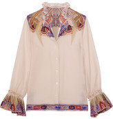 Etro Ruffled Paisley-print Silk-georgette Blouse - Off-white