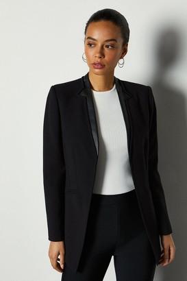 Karen Millen Faux Leather Collar Insert Jacket