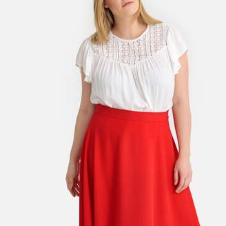 La Redoute Collections Plus Macrame & Ruffled Sleeve Blouse