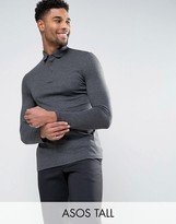Asos Tall Long Sleeve Jersey Polo In Charcoal Marl