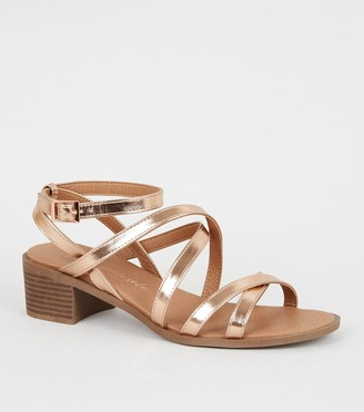New Look Wide Fit Strappy Low Heel Sandals