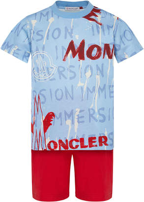 Moncler Boy's Logo Graphic Tee w/ Solid Shorts, Size 4-6