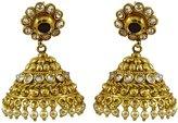 Matra Traditional Indian Goldtone CZ Stone Jhumka Earring Set Women Wedding Jewelry