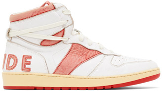 Rhude White and Red Rhecess Hi Sneakers
