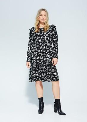 MANGO Violeta BY Floral ruffled dress black - 10 - Plus sizes