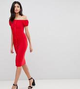 Asos Tall DESIGN Tall ruffle front bodycon Midi dress
