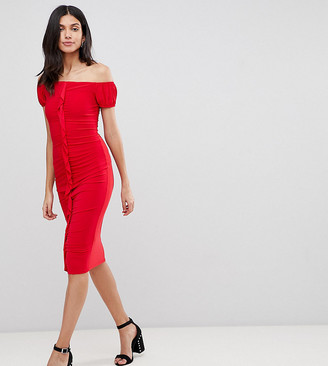Asos Tall DESIGN Tall ruffle front bodycon Midi dress-Red