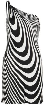 De La Vali Lithium Printed One-shoulder Satin Mini Dress