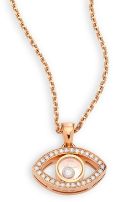Chopard Happy Diamonds & 18K Rose Gold Evil Eye Pendant Necklace