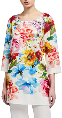 Caroline Rose Flirty Floral 3/4-Sleeve Printed Linen Tunic