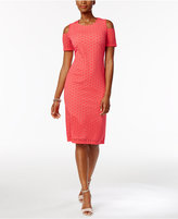 Ronni Nicole Perforated Cold-Shoulder Sheath Dress