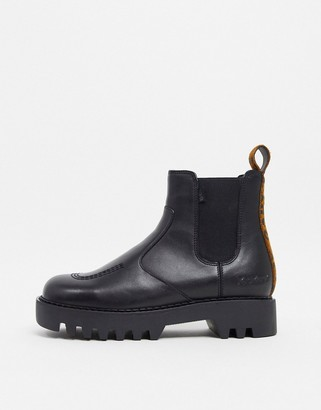 Kickers Kizziie chunky chelsea boots in black with leopard back tab