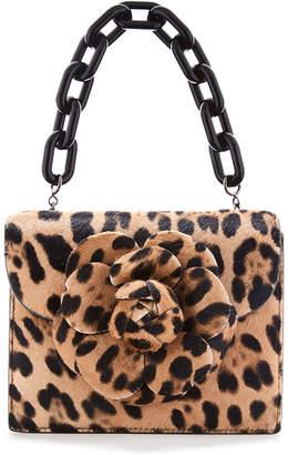 Oscar de la Renta Tro Mini Leopard Shoulder Bag with Flower