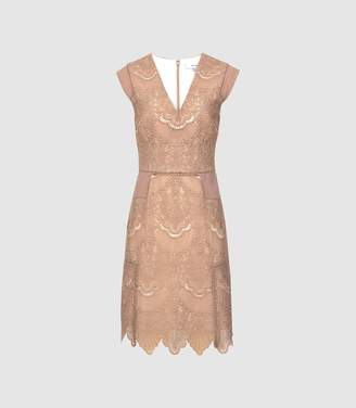 Reiss Gemina - Lace Fit And Flare Dress in Nude