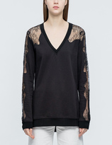 McQ by Alexander McQueen Floral Lace Trim Jersey Sweatshirt