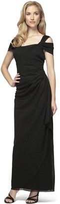 Alex Evenings Women's Long Cold Shoulder Dress (Petite and Regular Sizes)