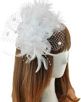 Sheliky Fascinator Feather Hair Clip Brooch Pin Wedding Bridal Headpiece for Women