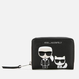 Karl Lagerfeld Paris Women's K/Ikonik Small Folded Zip Wallet - Black