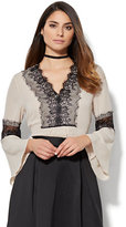 New York & Co. 7th Avenue Design Studio - Lace-Trim Bell-Sleeve Blouse