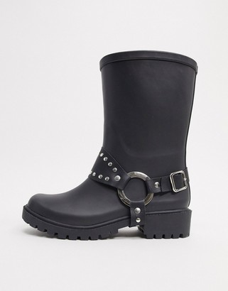 ASOS DESIGN Gallop chunky western wellies in black