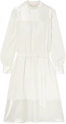 Co Belted Satin Crepe-paneled Cady Dress