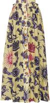 Just Cavalli Pleated printed silk-chiffon and linen maxi skirt