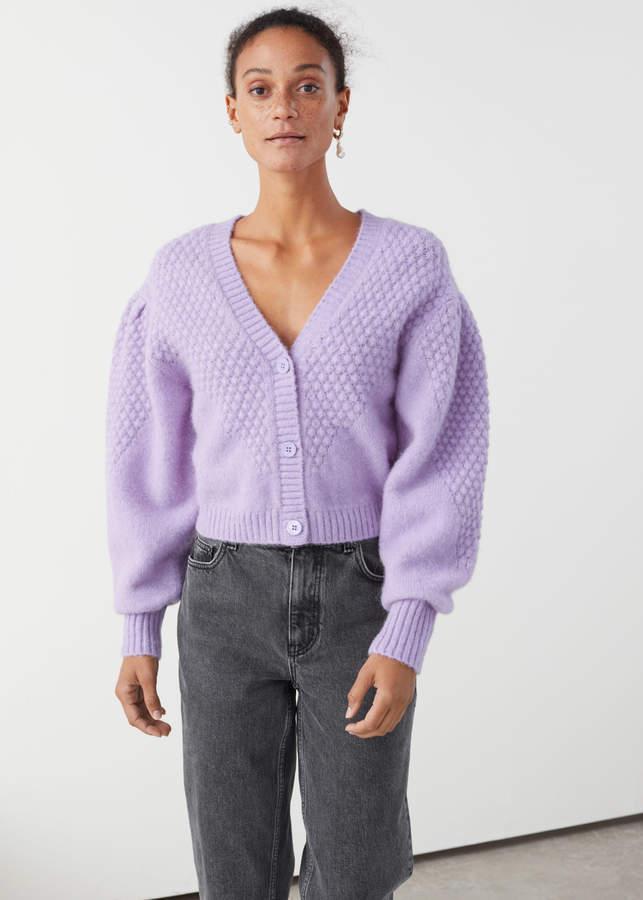 Waffle Knit Wool Blend Cardigan