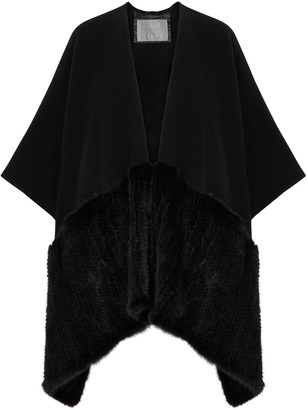 Herno Black fur-trimmed cape