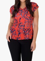 Chesca Pleated Floral Print Top, Coral